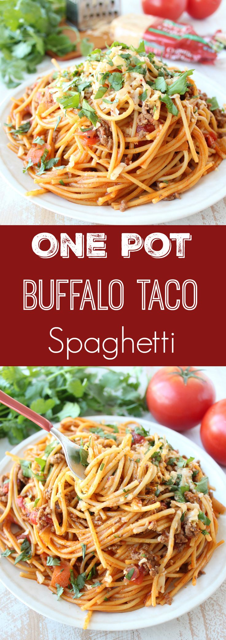 In one pot and under 30 minutes, make this scrumptious Buffalo Taco Spaghetti recipe, and serve it up on World Market Muir Plates! #WorldMarketTribe