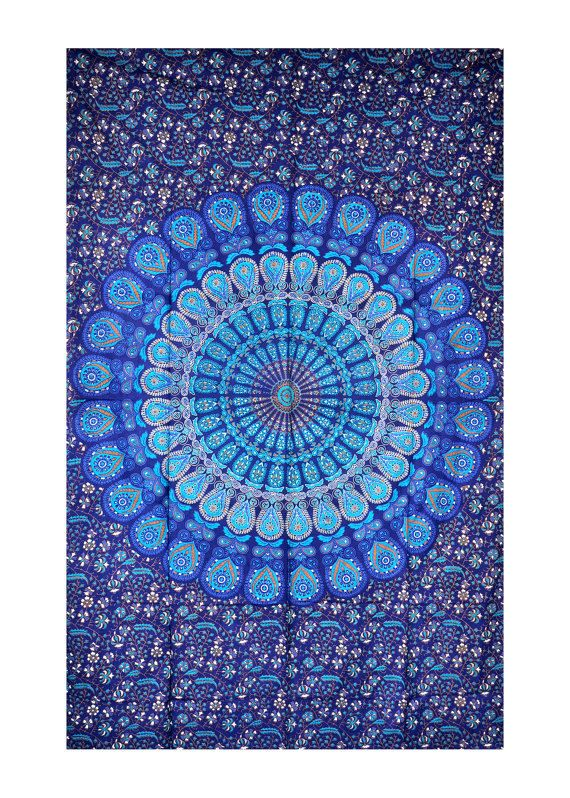 Blue Dorm Mandala Tapestries Tapestry Wall by JaipurExpressDealers