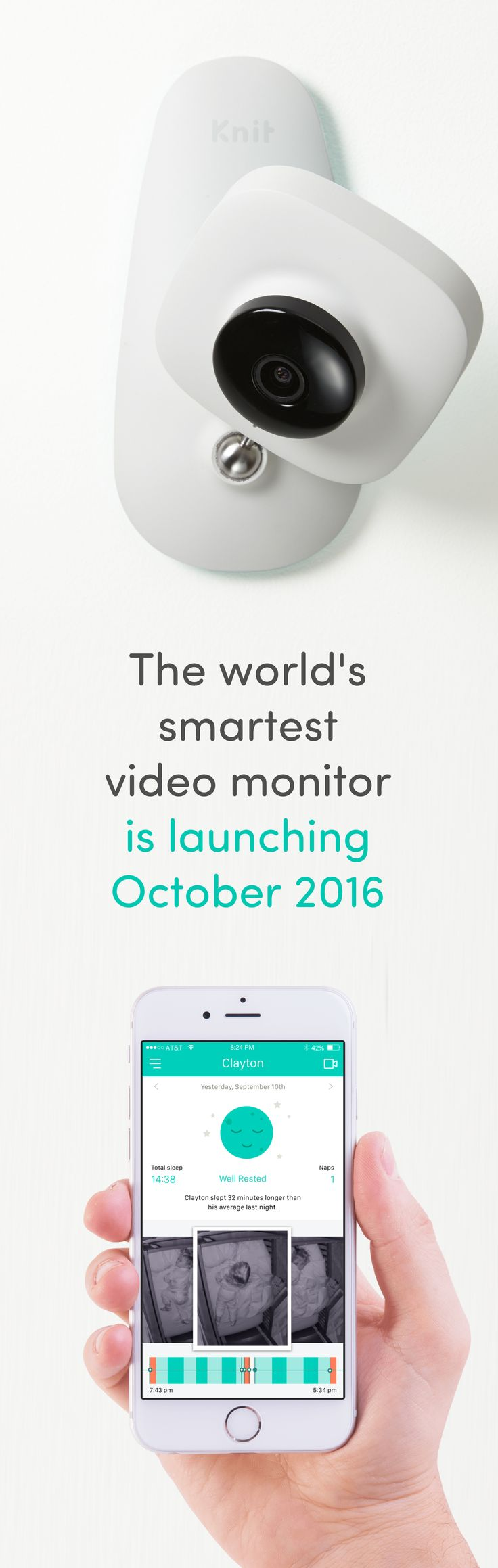 Launching next week. Watch the video, and sign up for the best discount on Kickstarter. Knit is the only baby monitor to track sleep AND breathing, all without wearables.