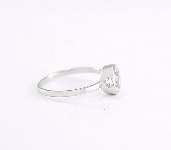 Anello solitario topazio bianco in argento 925 rodiato di Freesize