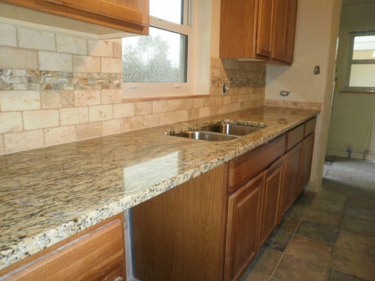 tile backsplash, granite countertop oak colored cupboards | ... Backsplash):  Just