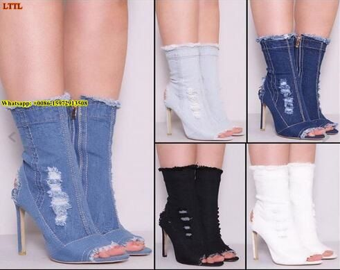 2017 spring summer women vogue denim boots retro cut-outs jeans open toe sandal boots mid-calf stieltto heel dress pumps