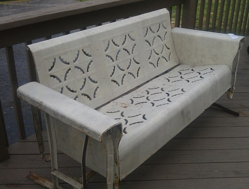 Details About Vintage Metal Patio Porch Glider Furniture Retro Mid Century  Bench PICK UP NW PA