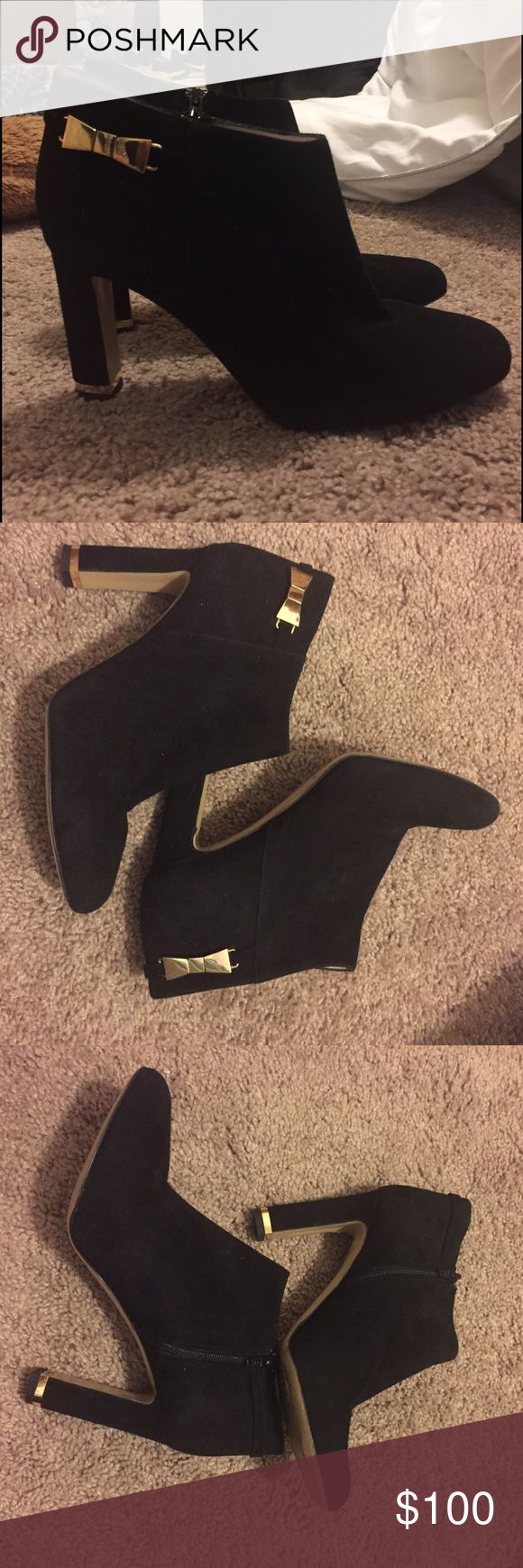 ONE DAY SALE!!! Kate Spade booties ONE DAY SALE!! These are so, so, so beautiful-- only worn once! Unfortunately I have really flat feet and can handle a large heel. The heel is about 4 inches. Open to reasonable offers!! kate spade Shoes Ankle Boots & Booties