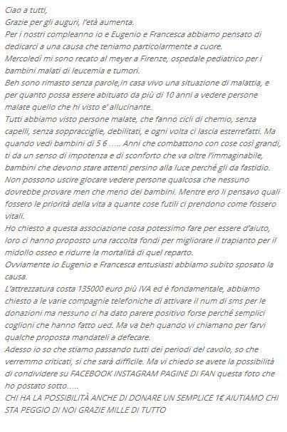 Luca Viganò compie gli anni e insieme a Francesca del Taglia e Eugenio Colombo lancia un'iniziativa in favore delle persone meno fortunate