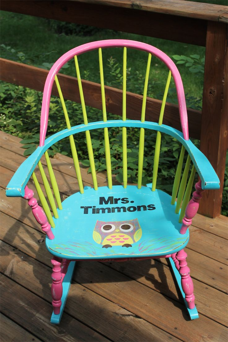 19 best Owl Painted Teacher Chair Bright Colors :) Author ...