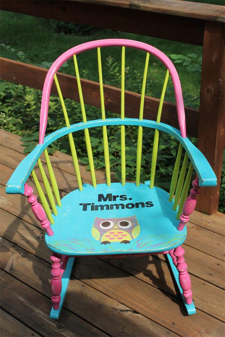 19 best Owl Painted Teacher Chair Bright Colors :) Author ...