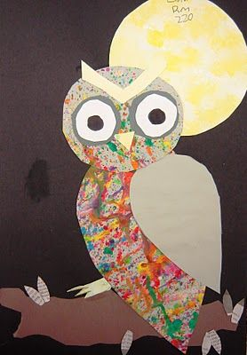 """Spotted Owls"" made from splatter-painted paper."