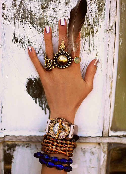 Jewelry: rings and bracelets. I like it all except the random feather. That could get annoying.
