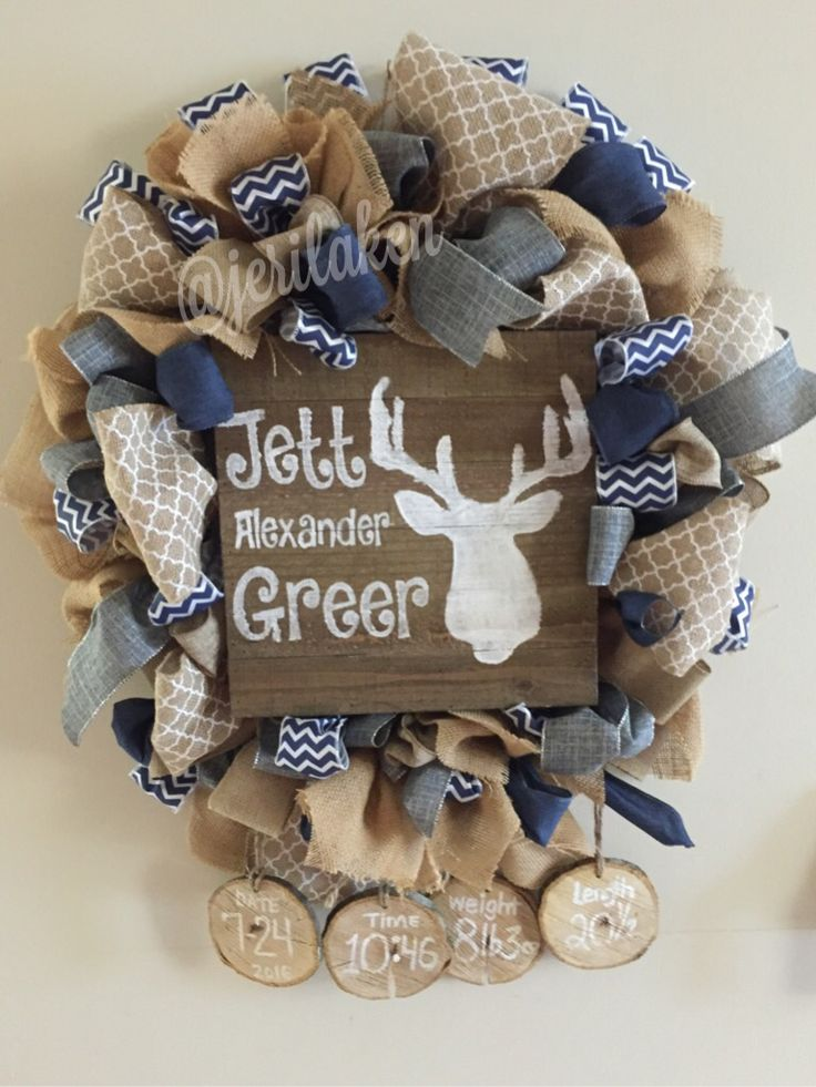 Burlap wreath, baby hospital door hanger. Rustic.