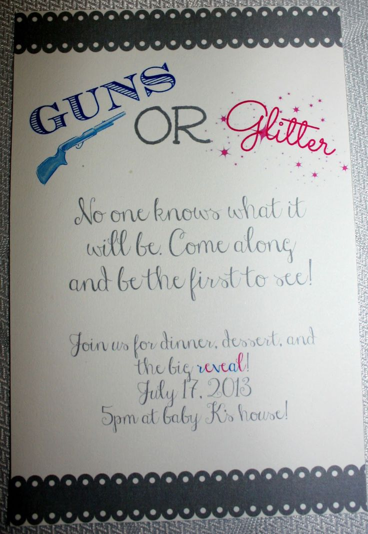 Gender Reveal Party Guns OR Glitter theme
