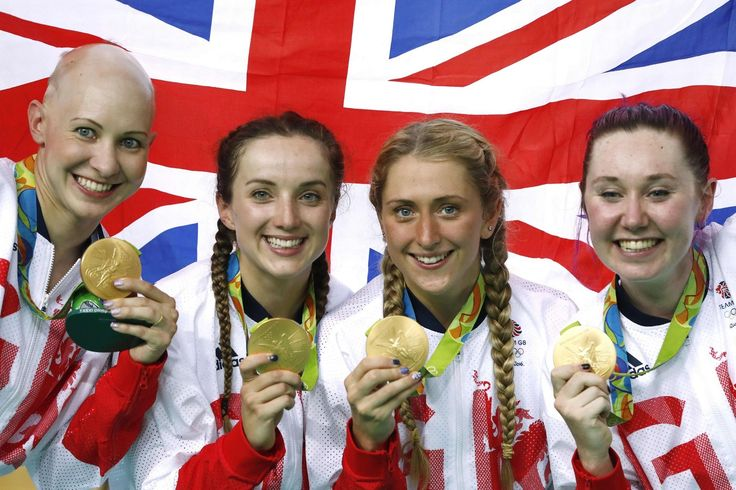Gold medallists Britain's Joanna Rowsell-Shand, Britain's Elinor Barker…