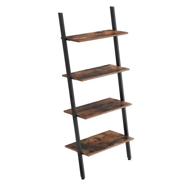 Alan Industrial Ladder Bookcase In 2020 Ladder Bookcase Wooden