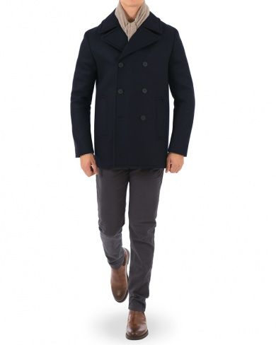 J.Lindeberg Loden Bonded Wool Peacoat Navy i gruppen Design B / Kläder / Jackor / Skepparkavajer hos Care of Carl (14213311r)