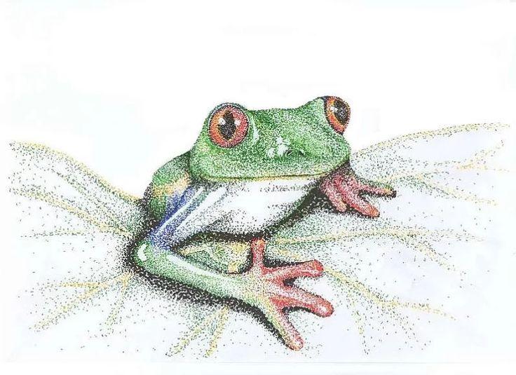 żaba, kropeczki, pointylizm, grafika
