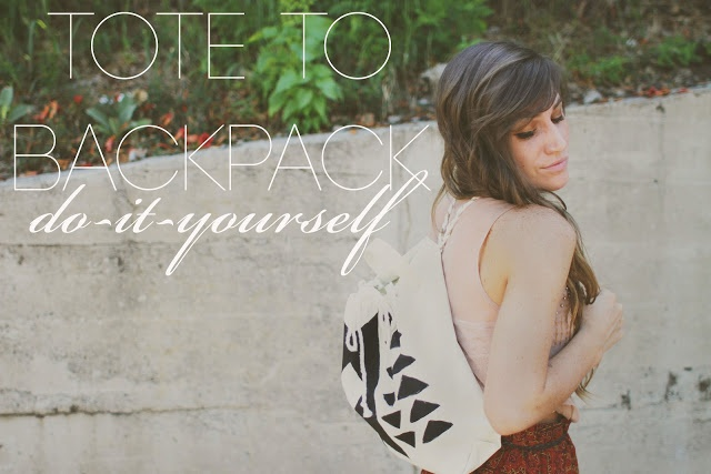 Make a backpack out of a canvas tote bag!