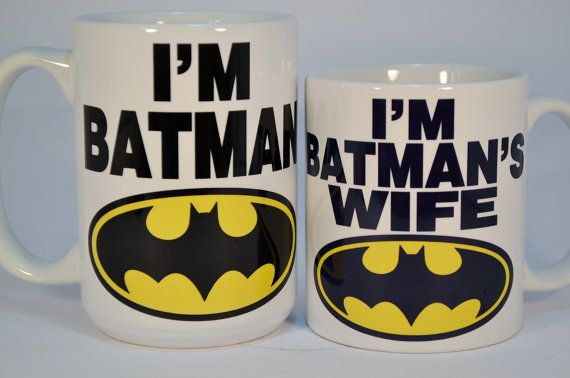 Im Batman and Im batmans wife mugs, are for the superhero lovers of the caped kind.  THE SET (shown in photo) SELLS FOR 20.00. A savings of 2.00