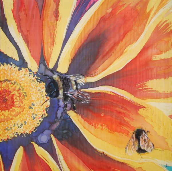 Silk batik panel with painted bees. SOLD NICOLA HAIGH