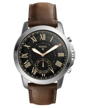 Fossil Q Men's Grant Brown Leather Strap Hybrid Smart Watch 44mm - Brown