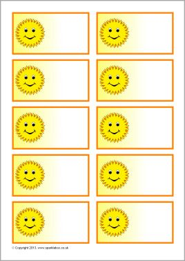 Sun/sunshine-themed editable peg labels (SB9384) - SparkleBox