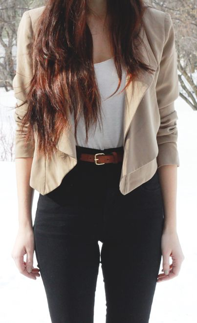 high waisted pants and cropped jacket