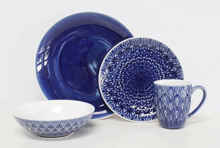 Peacock Blue 16 Piece Dinnerware Set by EuroCeramica #EuroCeramica
