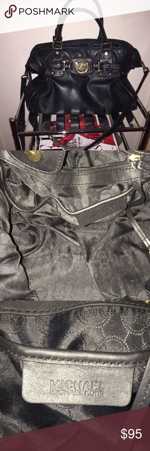 Michael Kors Black Hudson Tote An authentic Michael Kors Black Hudson Tote. Used. Clean inside. About MD/LG sized. Comes with a cross-body strap. The gold color is gently fading on the magnet inside and feet but still looks good. Overall the bag is in great shape. MICHAEL Michael Kors Bags Totes