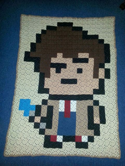 Crochet blanket the 10th doctor, doctor who!  I made this for my boyfriend for christmas!
