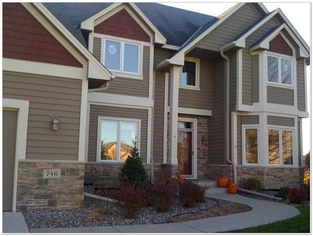 Tan white maroon palette house exterior palette ideas for Exterior house color palette ideas