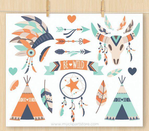 Tribal Boy Clipart Bundle Native American Indian Bohemian Etsy Boho Elements Clip Art Feather Clip Art