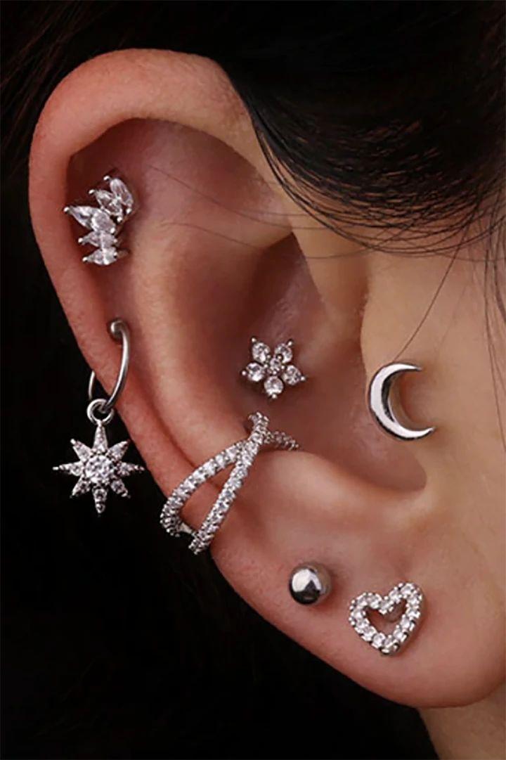 Keily Cute Crystal Flower Star Sun Heart Hoop Ring Ear Piercing Jewelry in 2021 | Ear jewelry, Ear piercings, Silver ear cuff earrings