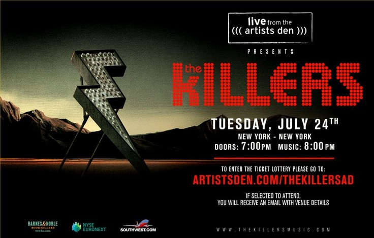 The Killers playing a secret show in NYC on July 24, 2012. Enter to win tickets at http://www.artistsden.com/thekillersad