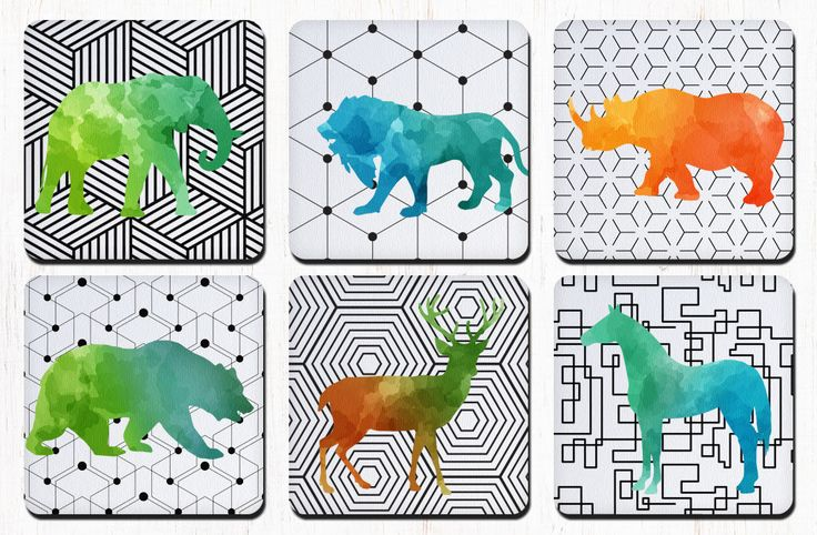 Colorful Watercolor Animals Coasters, Elephant, Lion, Rhino, Bear, Deer, Horse, Coaster Set, Drink Coasters, Decorative Coasters by RegalosOnline on Etsy