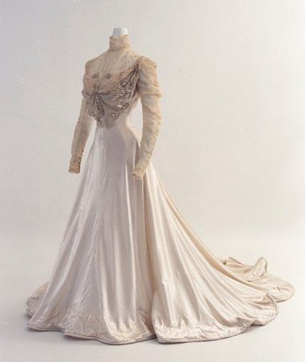 Victorian Wedding Gown with ornate Beaded Butterfly Bodice ~ Bunka Gakuen Costume Museum c. 1890