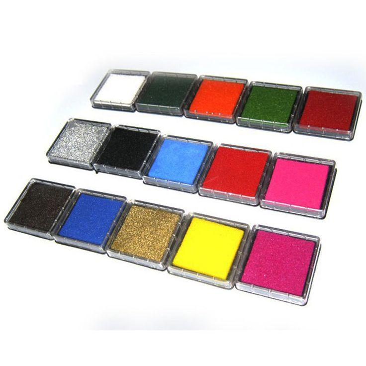 12 colores lindos Inkpad Craft base de aceite de bricolaje almohadillas de tinta para sellos de goma tela libro de recuerdos decoración de la boda huella digital sello Pad