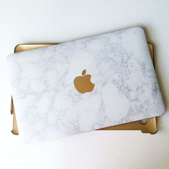 Marble and Gold MacBook Air Laptop case with the Logo detail. (Pattern: W/out gold corners; Device: Air 13), $66