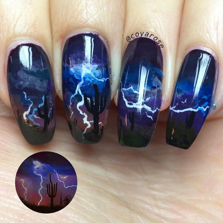 Desert lightning storm nail art.  Hand paint, freehand cactus, southwestern nails.