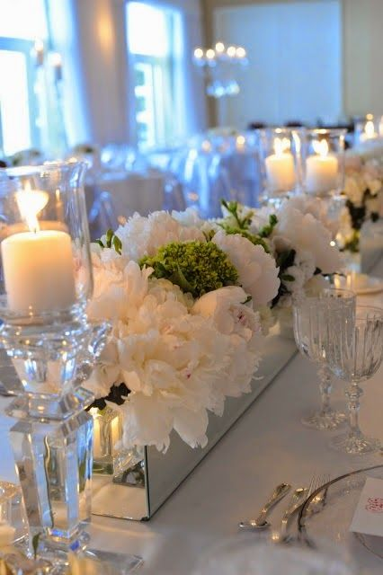 The French Tangerine: ~ january tablescape a la pinterest All white with a touch of green works year round, but how elegant on a snowy winter night with lots of candles.