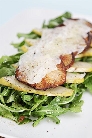 baby arugula salad with warm shiitake mushrooms and pears...