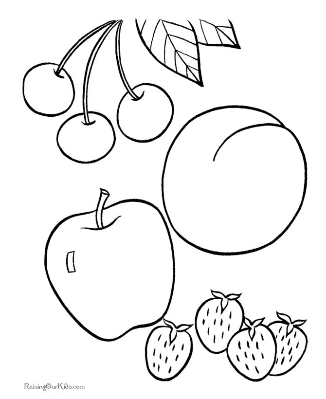 Fruit picture to print and color Educational Coloring