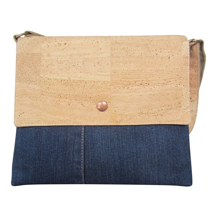 Casual style with vegan cork leather and used jeans. Handmade cork bag