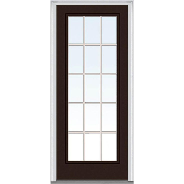 Milliken Millwork 37.5 in. x 81.75 in. Classic Clear Glass GBG Full Lite Painted Majestic Steel Exterior Door, Polished Mahogany