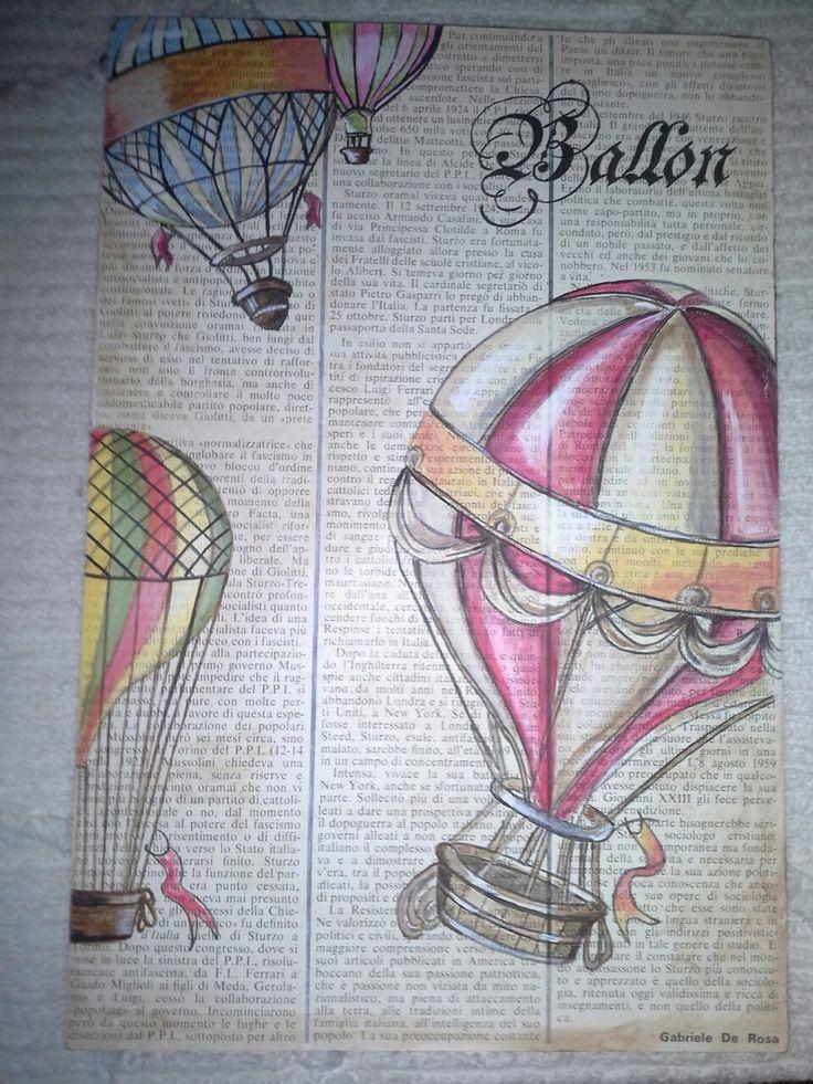 Dipinto con acrilico su vecchia carta di giornale.