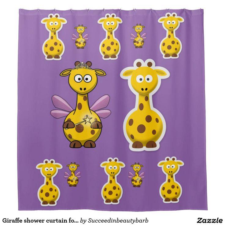 Giraffe shower curtain for children purple back