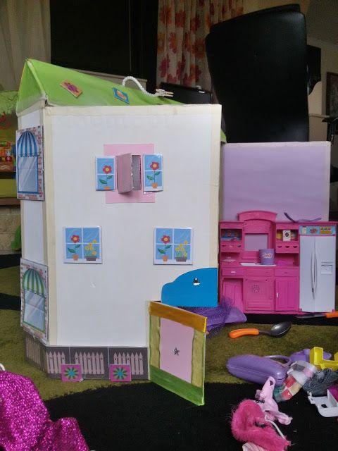 CRAFT-KAT : Χειροποίητο Κουκλόσπιτο από χαρτόκουτο / Handmade cardbox doll house