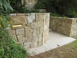 Image result for front garden sandstone walls ideas