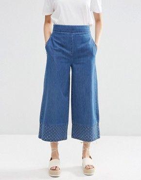 ASOS - Pantaloni di jeans coordinati con cut-out e fondo ampio
