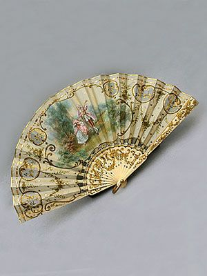 French hand-painted silk fan with cut-work ivory sticks, c.1865.