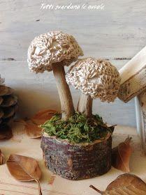 Funghi handmade con tutorial, decorazioni autunnali, segnaposto autunnale, materiali naturali.