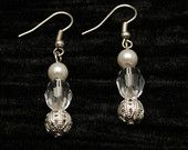 Faux Pearls and Clear Glass Crystal Earrings